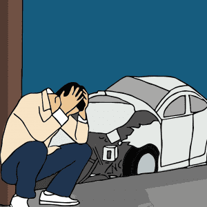 גבר עם מכונית הרוסה