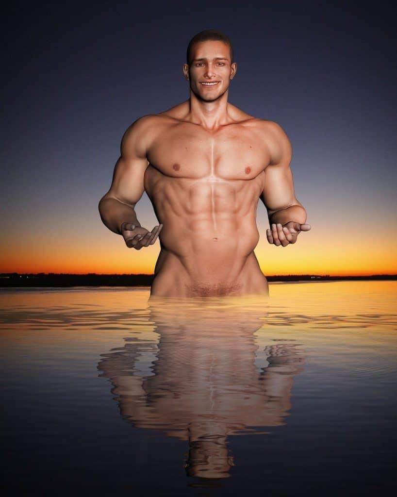 אדם שרירי במים